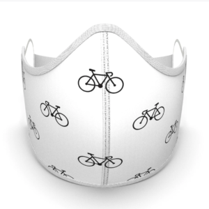 bike cycle face mask white with black protection covid